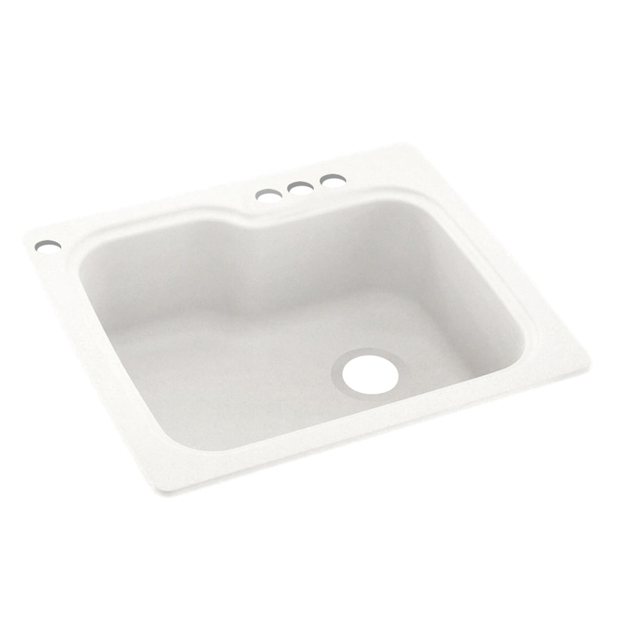 Swanstone 25-in x 22-in Tahiti Ivory Single-Basin Composite Drop-In 4-Hole Residential Kitchen Sink