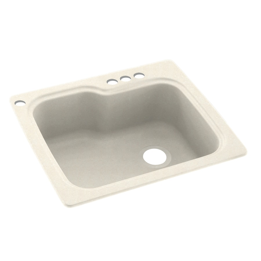 Swanstone 25-in x 22-in Pebble Single-Basin Composite Drop-In 4-Hole Residential Kitchen Sink