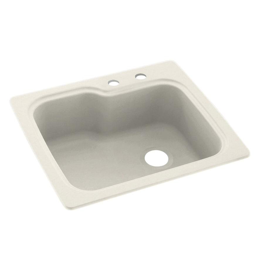 Swanstone 25-in x 22-in Glacier Single-Basin Composite Drop-In 2-Hole Residential Kitchen Sink