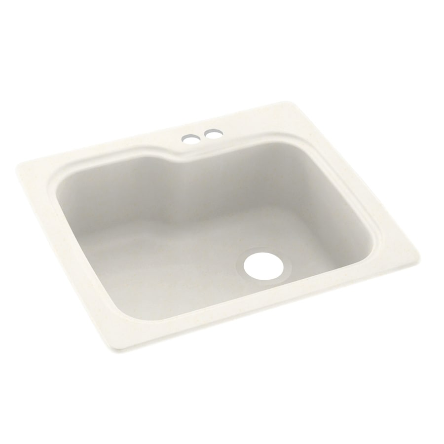 Swanstone 25-in x 22-in Baby's Breath Single-Basin Composite Drop-In 2-Hole Residential Kitchen Sink