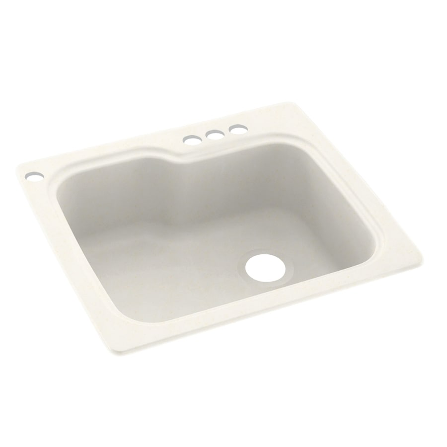 Swanstone 25-in x 22-in Baby's Breath Single-Basin Composite Drop-In 4-Hole Residential Kitchen Sink
