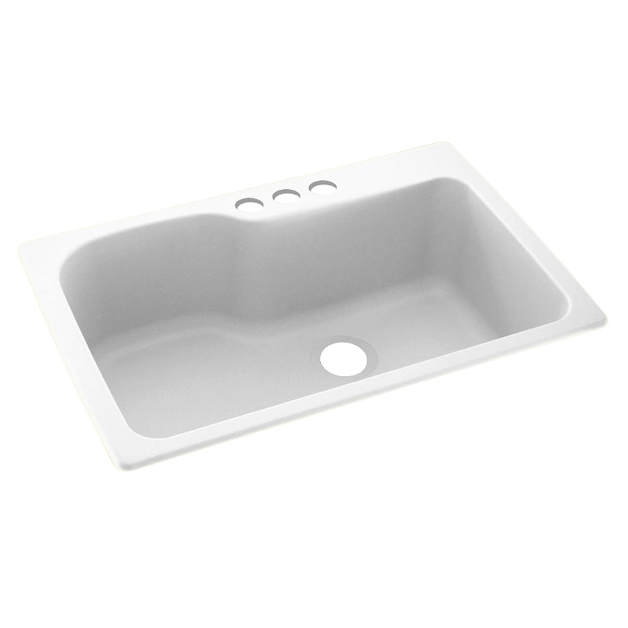 Swanstone 33-in x 22-in White Single-Basin Composite Drop-In 3-Hole Residential Kitchen Sink