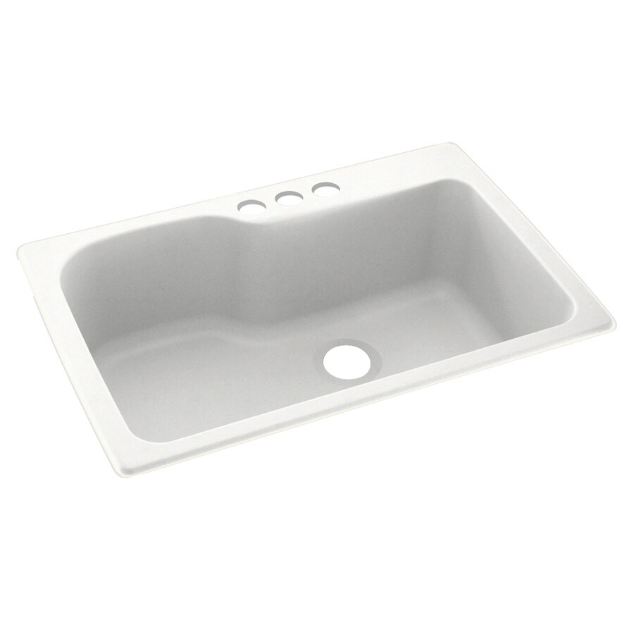 Swanstone 33-in x 22-in Tahiti White Single-Basin Composite Drop-In 3-Hole Residential Kitchen Sink