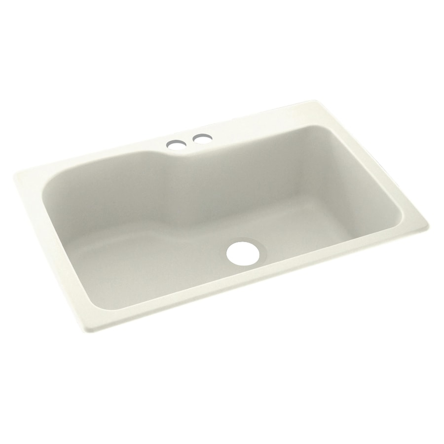 Swanstone 33-in x 22-in Bisque Single-Basin Composite Drop-In 2-Hole Residential Kitchen Sink