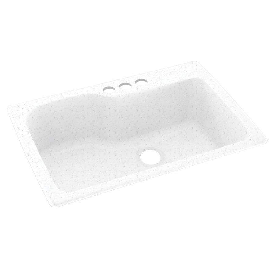 Swanstone 33-in x 22-in Arctic Granite Single-Basin Composite Drop-In 3-Hole Residential Kitchen Sink