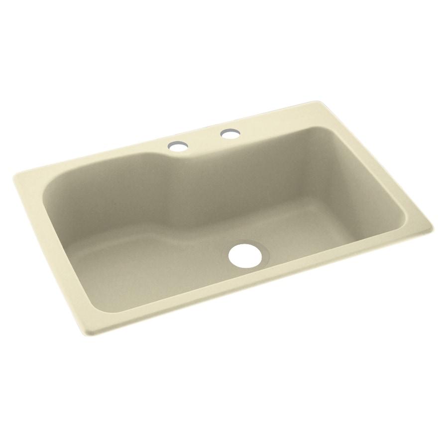 Swanstone 33-in x 22-in Bone Single-Basin Composite Drop-In 2-Hole Residential Kitchen Sink