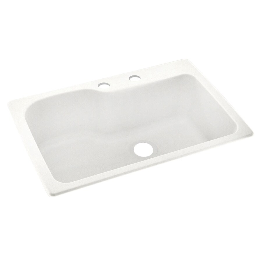 Swanstone 33-in x 22-in Tahiti Ivory Single-Basin Composite Drop-In 2-Hole Residential Kitchen Sink