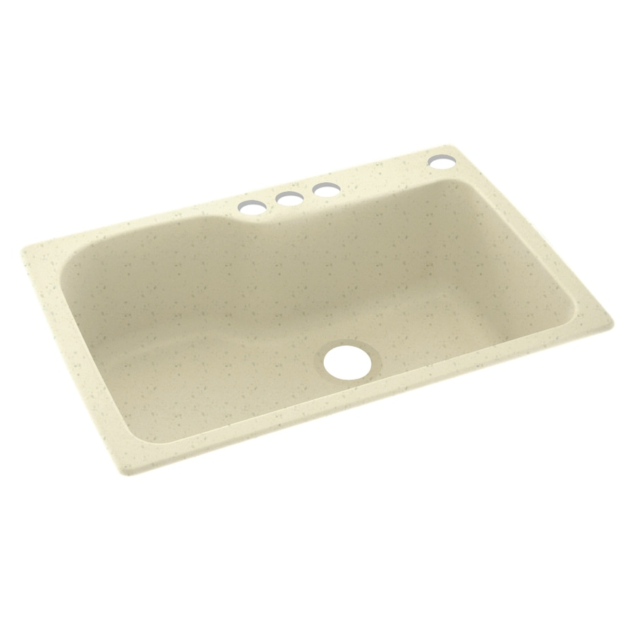 Swanstone 33-in x 22-in Caraway Seed Single-Basin Composite Drop-In 4-Hole Residential Kitchen Sink