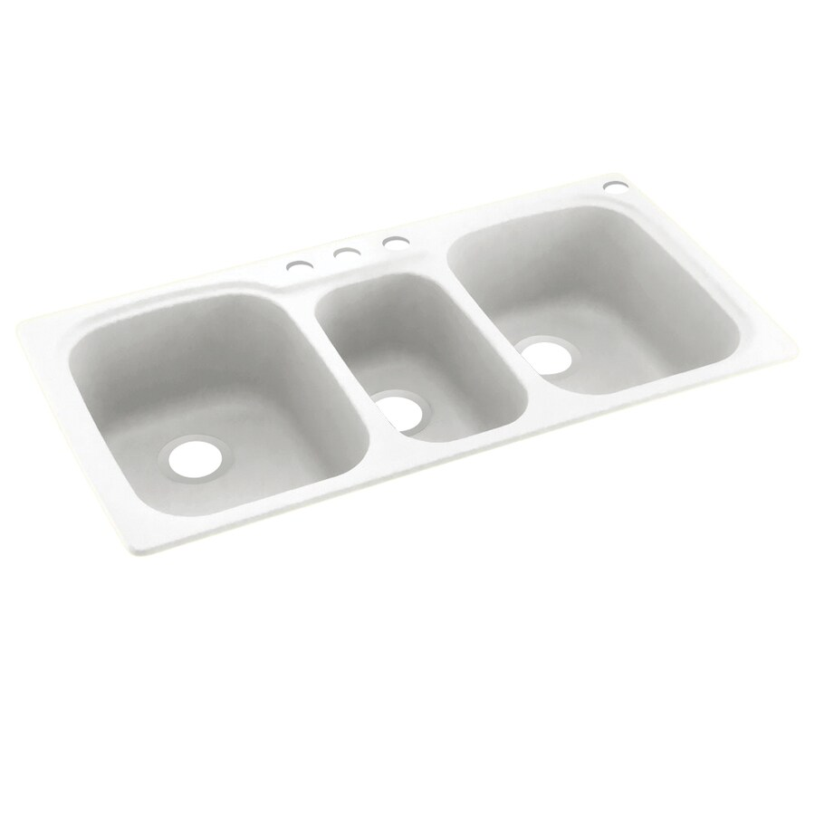 Swanstone 44-in x 22-in White Triple-Basin Composite Drop-In 4-Hole Residential Kitchen Sink