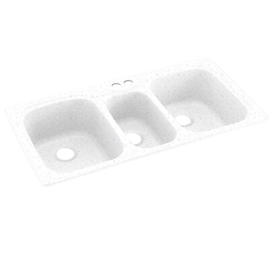 Swanstone 44-in x 22-in Arctic Granite Triple-Basin Composite Drop-In 2-Hole Residential Kitchen Sink