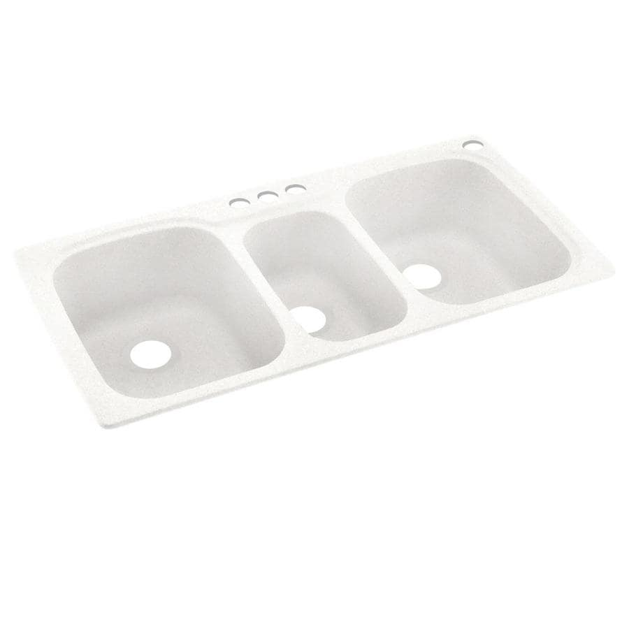 Swanstone 44-in x 22-in Tahiti Ivory Triple-Basin Composite Drop-In 4-Hole Residential Kitchen Sink