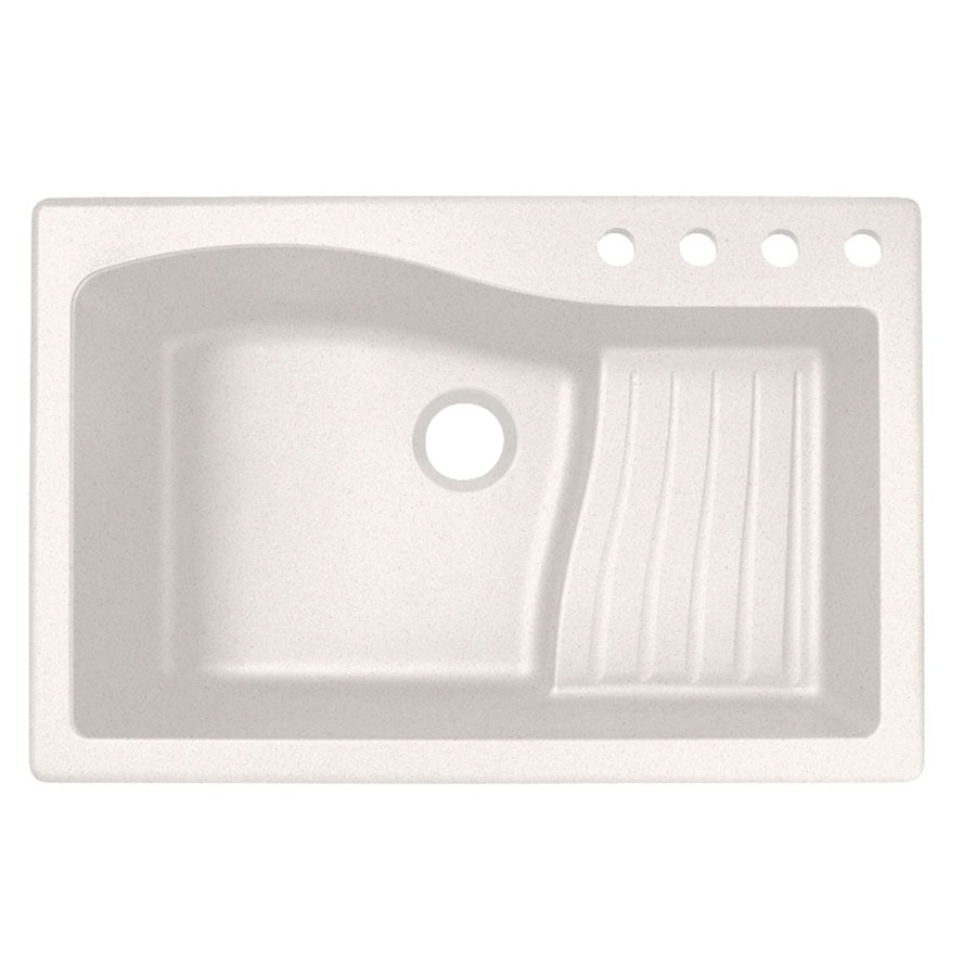 Swanstone 22-in x 33-in Bianca Single-Basin Granite Drop-In or Undermount 4-Hole Residential Kitchen Sink with Drainboard