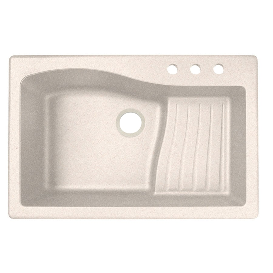 Swanstone 22-in x 33-in Granito Single-Basin Granite Drop-In or Undermount 3-Hole Residential Kitchen Sink with Drainboard