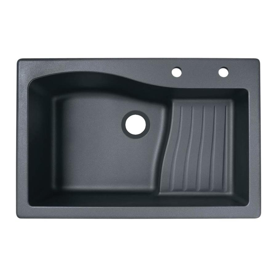 Swanstone 22-in x 33-in Nero Single-Basin Granite Drop-In or Undermount 2-Hole Residential Kitchen Sink with Drainboard