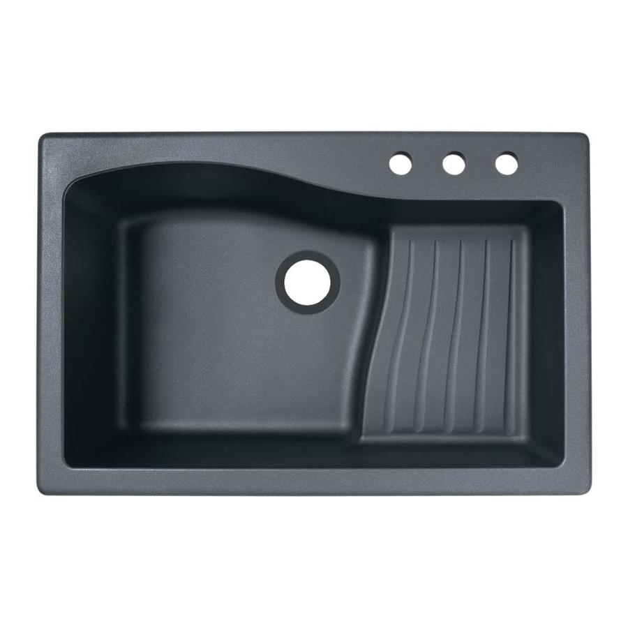 Swanstone 22-in x 33-in Nero Single-Basin Granite Drop-In or Undermount 3-Hole Residential Kitchen Sink with Drainboard