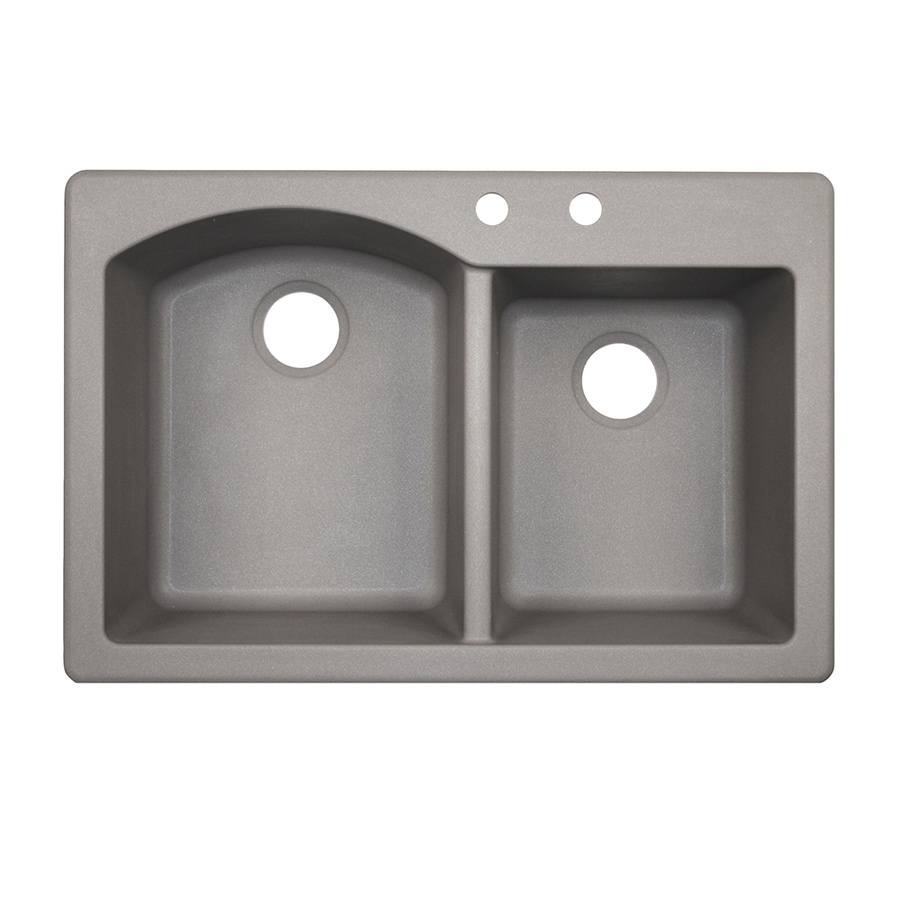 Swanstone 22-in x 33-in Metallico Double-Basin Granite Drop-In or Undermount 2-Hole Residential Kitchen Sink