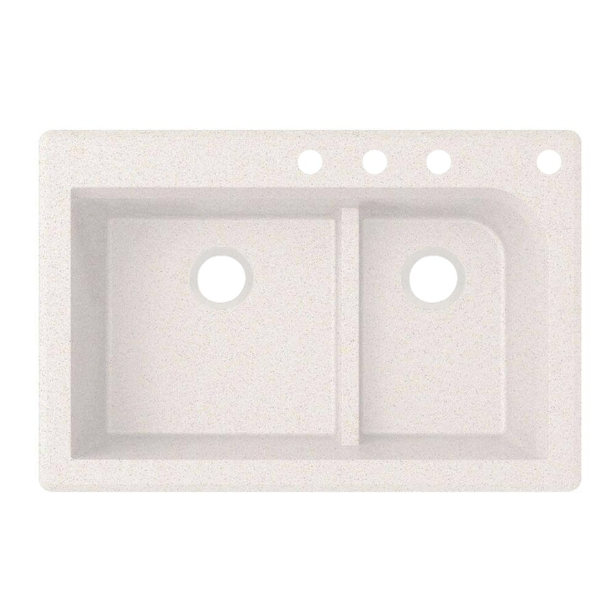 Swanstone 22-in x 33-in Bianca Double-Basin Granite Drop-In or Undermount 4-Hole Residential Kitchen Sink