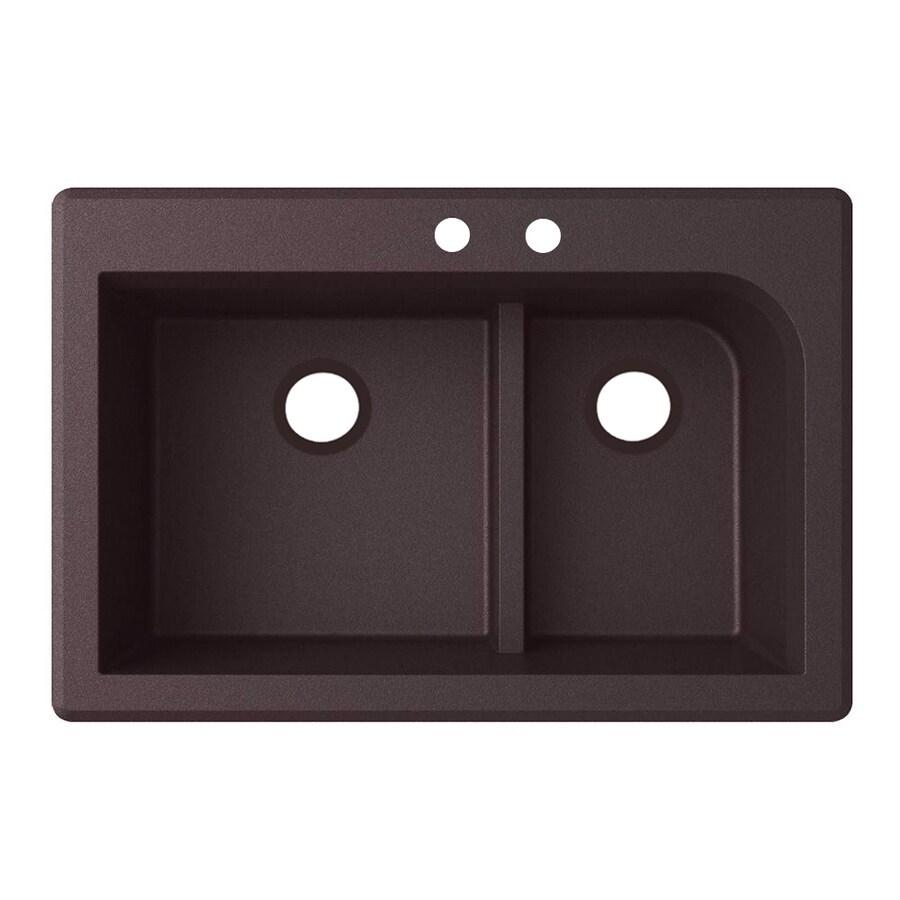 Swanstone 22-in x 33-in Espresso Double-Basin Granite Drop-In or Undermount 2-Hole Residential Kitchen Sink