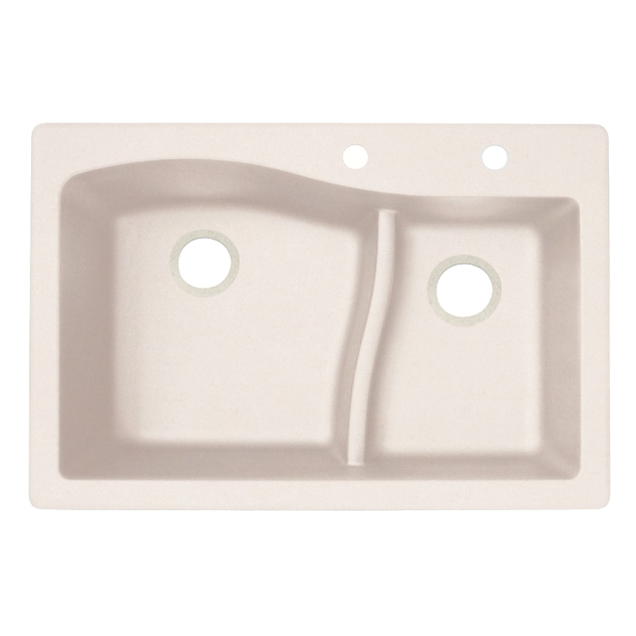 Swanstone 22-in x 33-in Granito Double-Basin Granite Drop-In or Undermount 2-Hole Residential Kitchen Sink