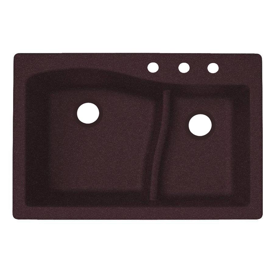 Swanstone 22-in x 33-in Espresso Double-Basin Granite Drop-In or Undermount 3-Hole Residential Kitchen Sink