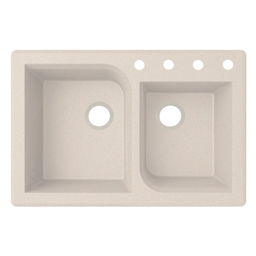 Swanstone 22-in x 33-in Granito Double-Basin Granite Drop-In or Undermount 4-Hole Residential Kitchen Sink