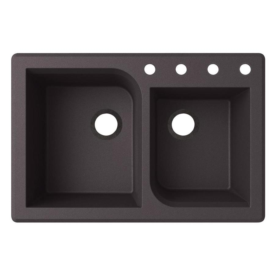 Swanstone 22-in x 33-in Nero Double-Basin Granite Drop-In or Undermount 4-Hole Residential Kitchen Sink