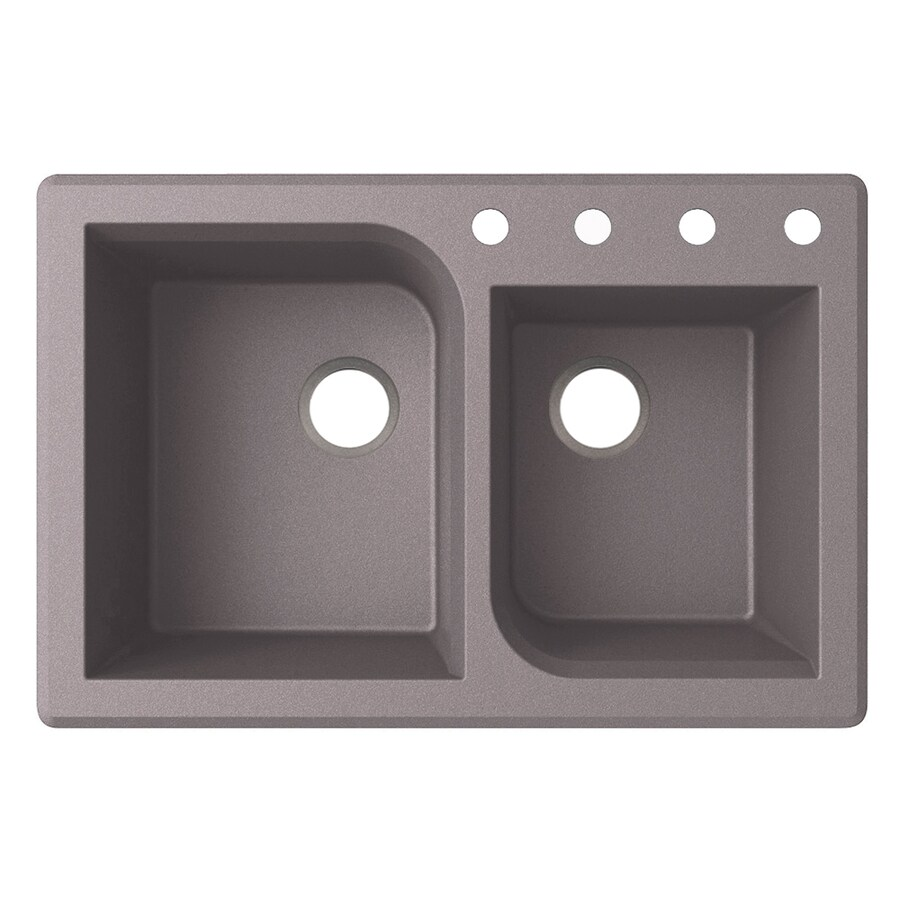 Swanstone 22-in x 33-in Metallico Double-Basin Granite Drop-In or Undermount 4-Hole Residential Kitchen Sink