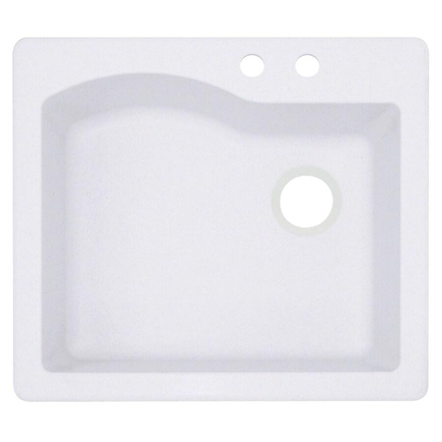 Swanstone 22-in x 25-in Bianca Single-Basin Granite Drop-In or Undermount 2-Hole Residential Kitchen Sink