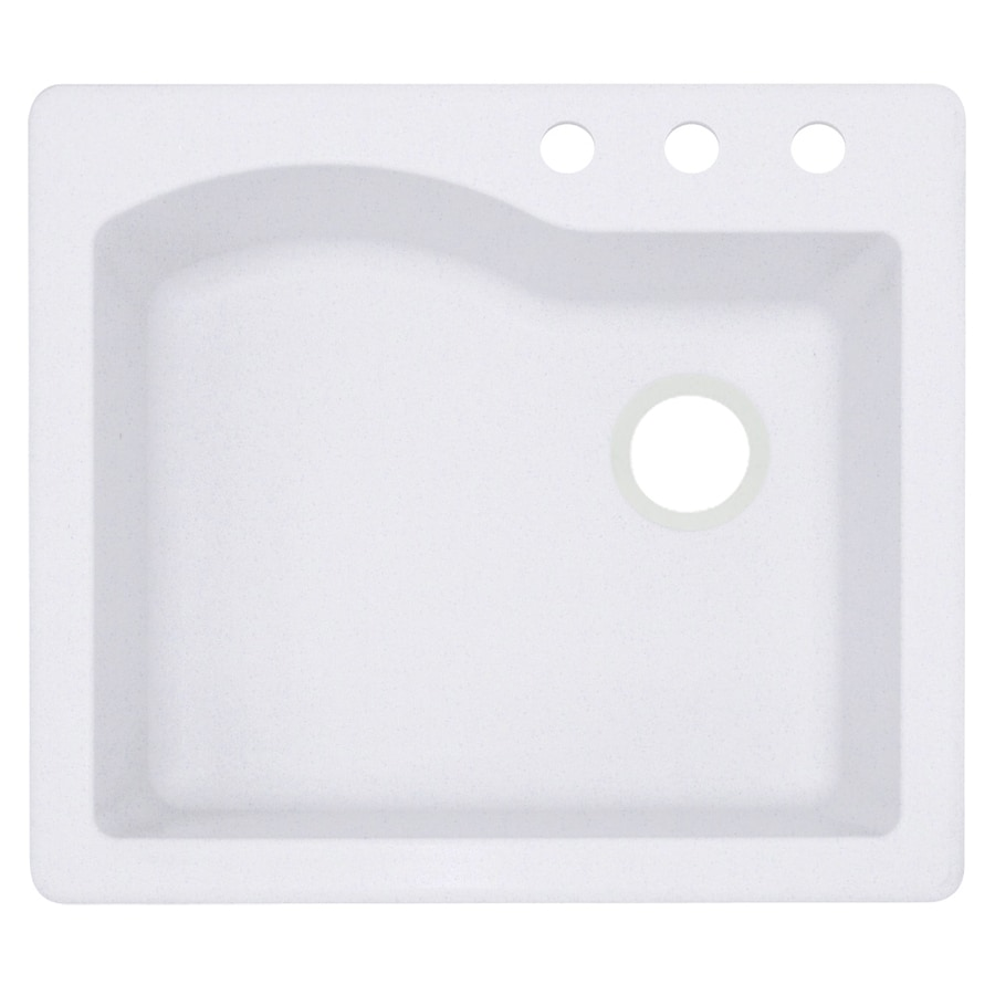 Swanstone 22-in x 25-in Bianca Single-Basin Granite Drop-In or Undermount 3-Hole Residential Kitchen Sink