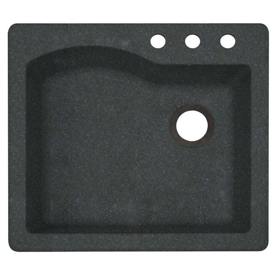 Swanstone 22-in x 25-in Nero Single-Basin Granite Drop-In or Undermount 3-Hole Residential Kitchen Sink