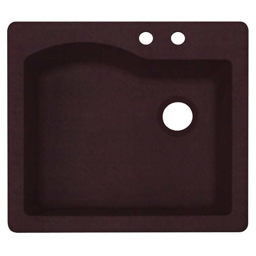 Swanstone 22-in x 25-in Espresso Single-Basin Granite Drop-In or Undermount 2-Hole Residential Kitchen Sink