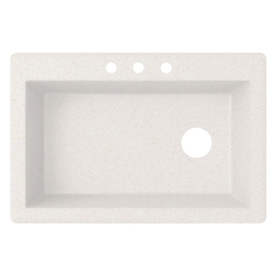 Swanstone 22-in x 33-in Bianca Single-Basin Granite Drop-In or Undermount 3-Hole Residential Kitchen Sink