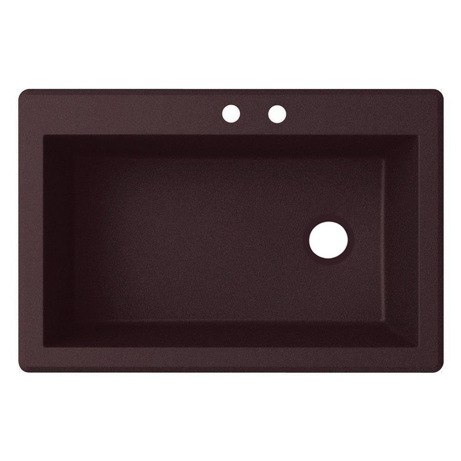 Swanstone 22-in x 33-in Espresso Single-Basin Granite Drop-In or Undermount 2-Hole Residential Kitchen Sink