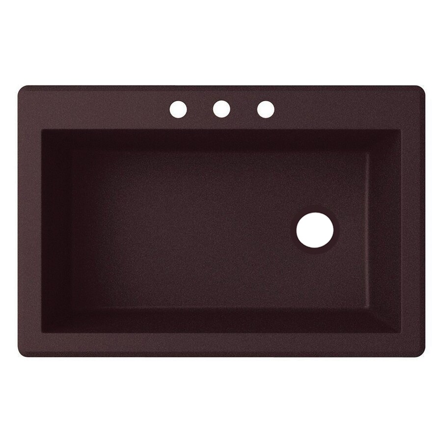 Shop swanstone 22 in x 33 in espresso single basin granite for Swanstone undermount sinks