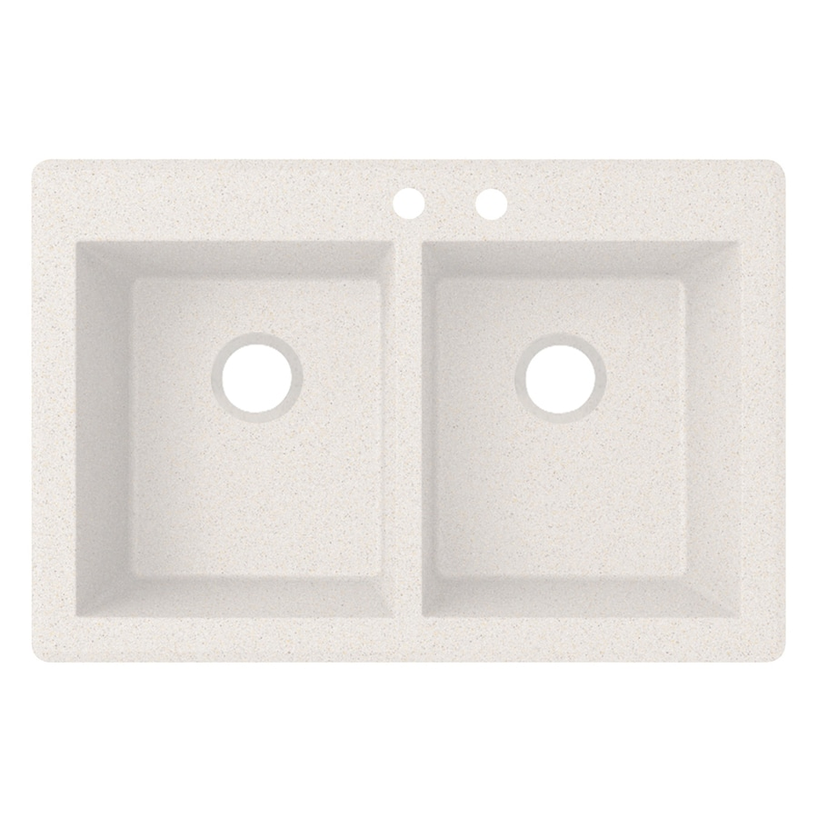 Swanstone 22-in x 33-in Bianca Double-Basin Granite Drop-In or Undermount 2-Hole Residential Kitchen Sink