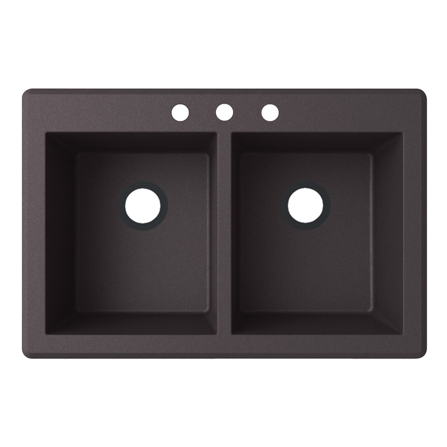 Swanstone 22-in x 33-in Nero Double-Basin Granite Drop-In or Undermount 3-Hole Residential Kitchen Sink