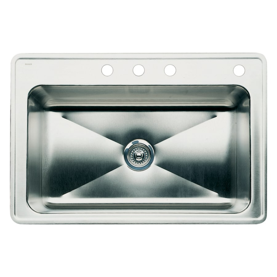 BLANCO Magnum 22-in x 33-in Satin Single-Basin Stainless Steel Drop-in 4-Hole Residential Kitchen Sink