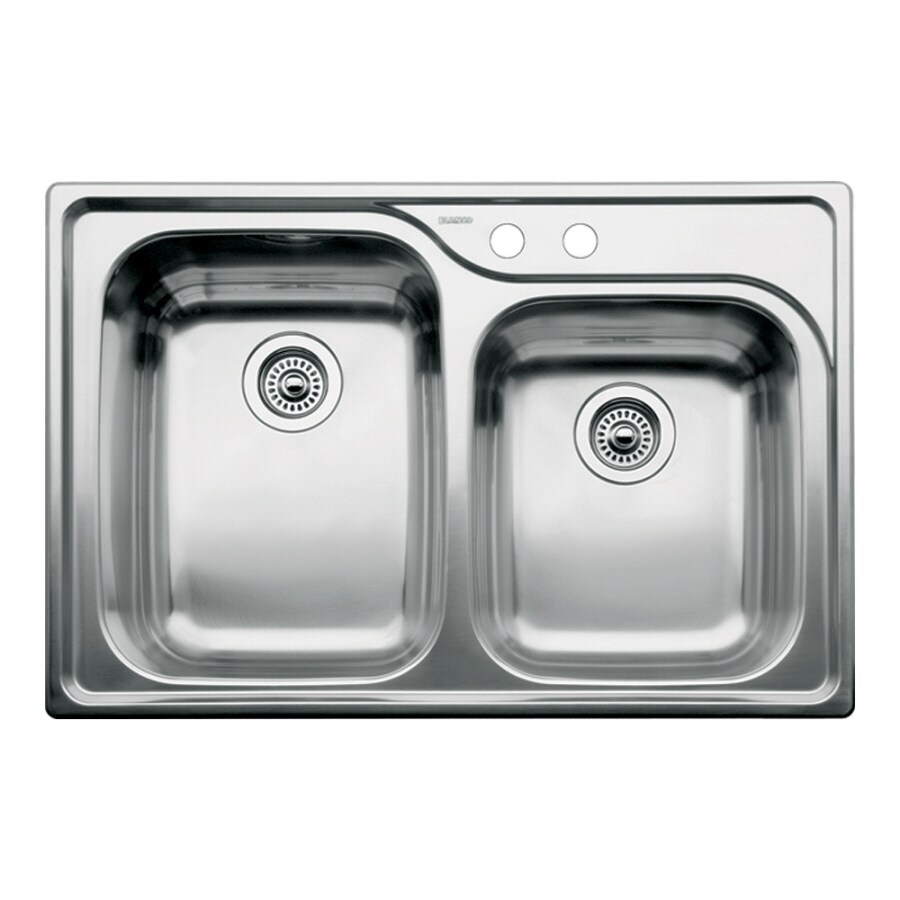 BLANCO Supreme 22-in x 33-in Satin Double-Basin Stainless Steel Drop-in 2-Hole Residential Kitchen Sink