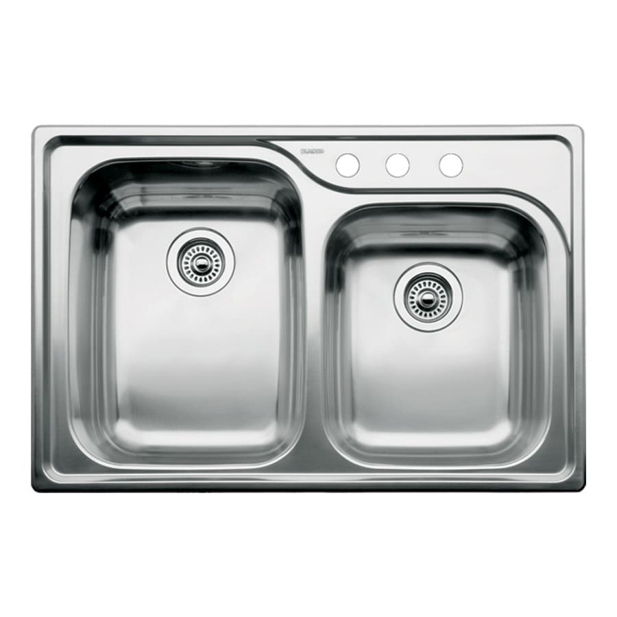 BLANCO Supreme 22-in x 33-in Satin Double-Basin Stainless Steel Drop-in 3-Hole Residential Kitchen Sink