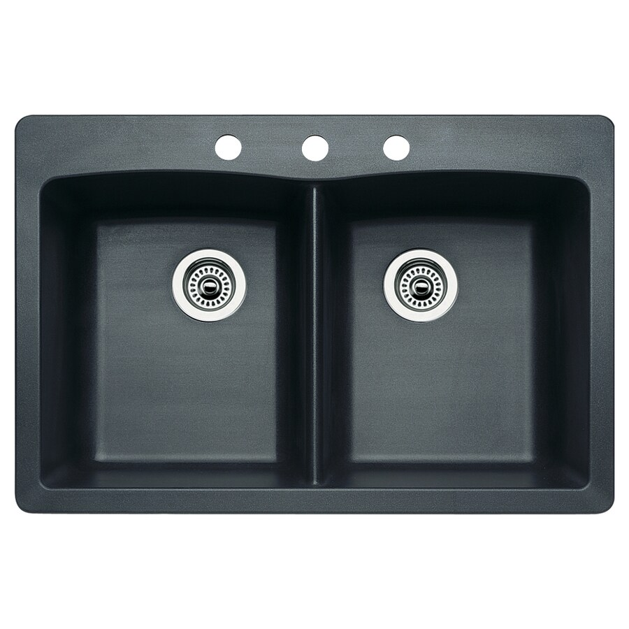 BLANCO Diamond 22-in x 33-in Anthracite Double-Basin Granite Drop-in or Undermount 3-Hole Residential Kitchen Sink