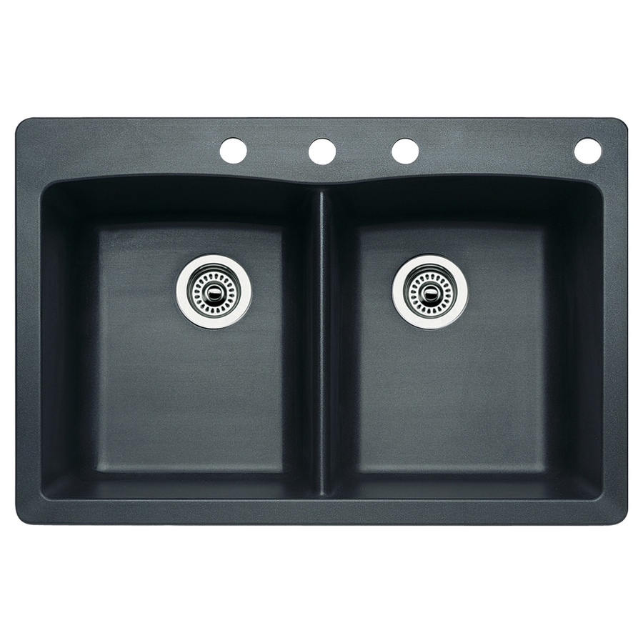 BLANCO Diamond 22-in x 33-in Anthracite Double-Basin Granite Drop-in or Undermount 4-Hole Residential Kitchen Sink