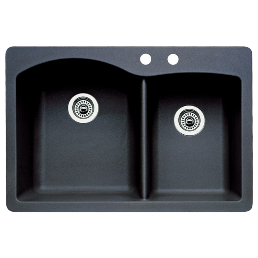 BLANCO Diamond 22-in x 33-in Anthracite Double-Basin Granite Drop-in or Undermount 2-Hole Residential Kitchen Sink