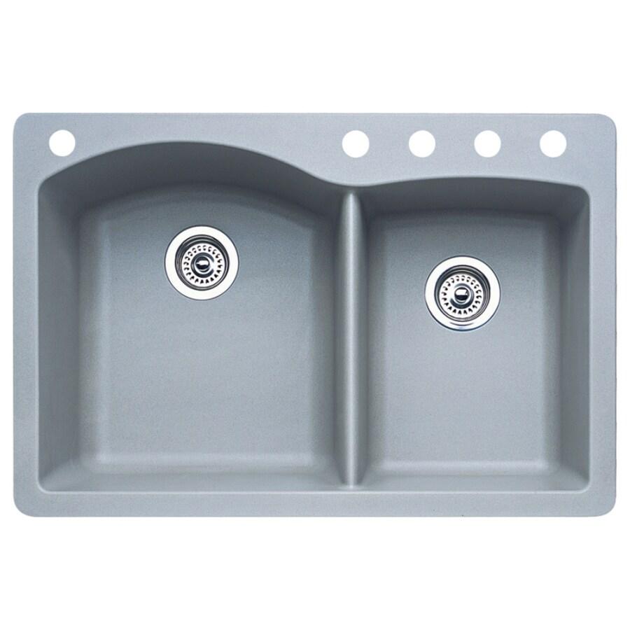 BLANCO Diamond 22-in x 33-in Metallic Gray Double-Basin Granite Drop-in or Undermount 5-Hole Residential Kitchen Sink