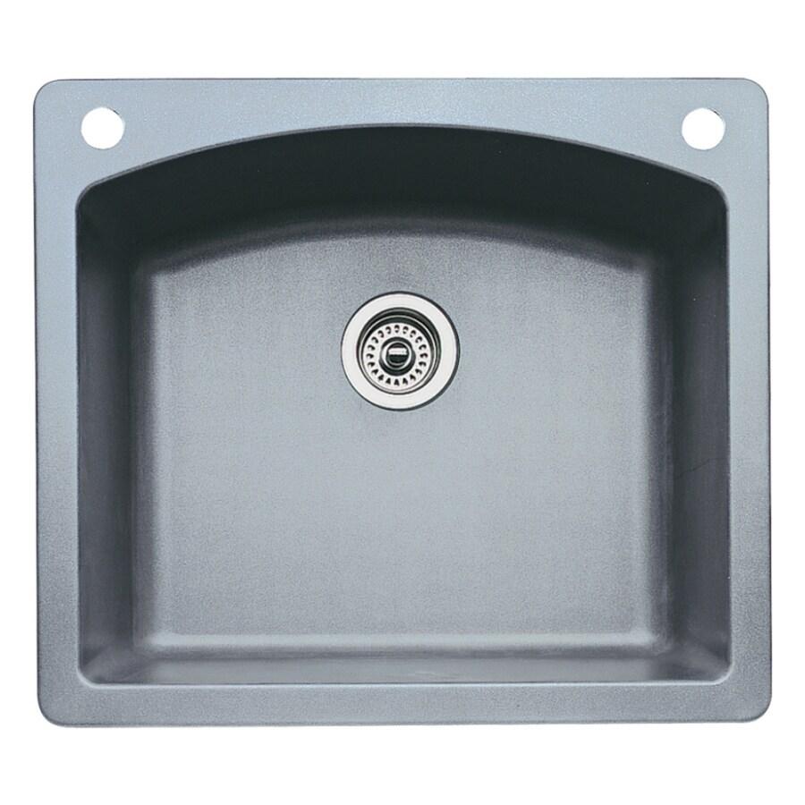 BLANCO Diamond 22-in x 25-in Metallic Gray Single-Basin Granite Drop-in or Undermount 2-Hole Residential Kitchen Sink