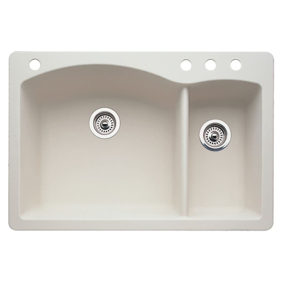 BLANCO Diamond 22-in x 33-in Biscuit Double-Basin Granite Drop-in or Undermount 4-Hole Residential Kitchen Sink