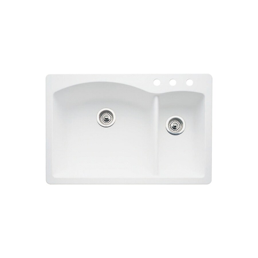 BLANCO Diamond 22-in x 33-in White Double-Basin Granite Drop-in or Undermount 3-Hole Residential Kitchen Sink