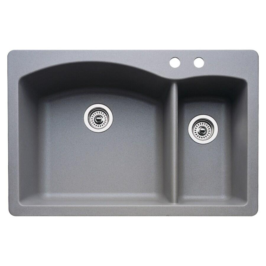 BLANCO Diamond 22-in x 33-in Metallic Gray Double-Basin Granite Drop-in or Undermount 2-Hole Residential Kitchen Sink