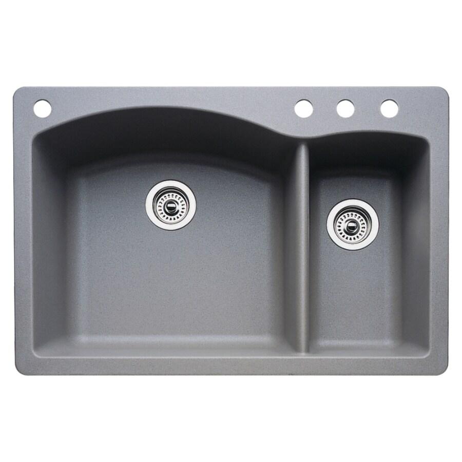 BLANCO Diamond 22-in x 33-in Metallic Gray Double-Basin Granite Drop-in or Undermount 4-Hole Residential Kitchen Sink