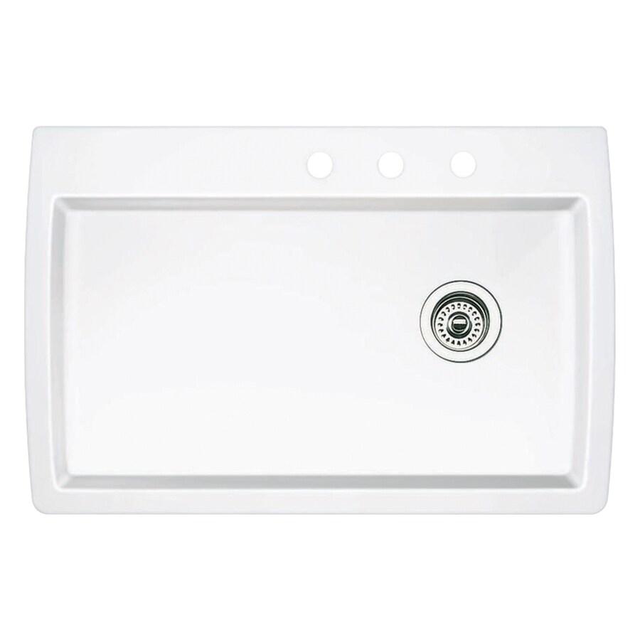 BLANCO Diamond 22-in x 33.5-in White Single-Basin Granite Drop-in or Undermount 3-Hole Kitchen Sink