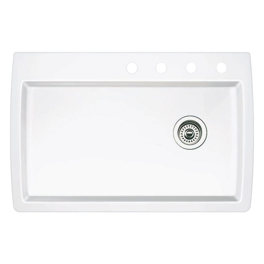 BLANCO Diamond 22-in x 33.5-in White Single-Basin Granite Drop-in or Undermount 4-Hole Kitchen Sink